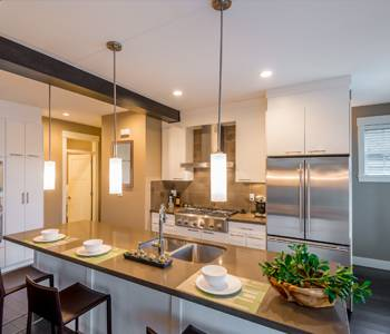 Complete modern kitchen building construction