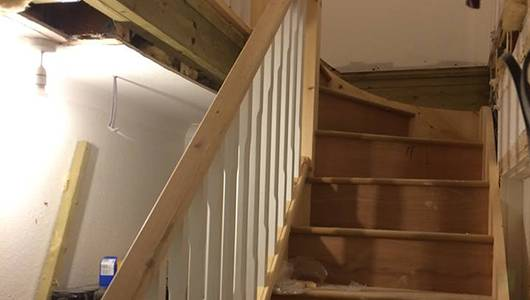 Staircase of loft conversion in progress